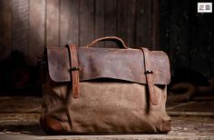 "15""Superior Genuine cross -body bag Cow Leather canvas bag /   Briefcase /  Messenger bag /leather  Laptop bag / Men's leather satchel(6896)..."