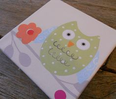 owl painting - for kids room. so cute!