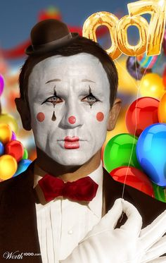 daniel craig Plus Le Clown, Clown Faces, Circus Clown, Evil Clowns, Scary Clowns, Holidays Halloween, Halloween Make Up, Clown Makeup, Fun Makeup