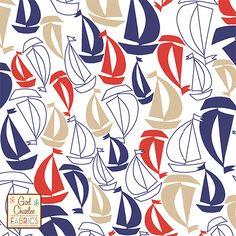 "Vintage Sailboats on White Cotton Jersey Blend Knit Fabric - A Girl Charlee Exclusive from our nautical Anchors Away collection!!  Sweet vintage sailboat print in navy blue, grenadine red, and semolina beige on our white cotton blend jersey knit.  Fabric is very soft and has a nice stretch and drape.  Biggest boats measure just over 2"". :: $6.50"