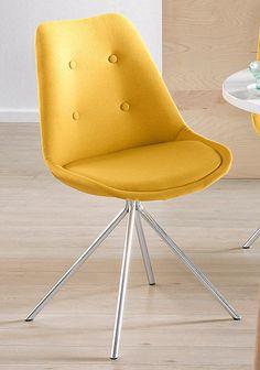 Auch zuhause zieht jetzt der Frühling ein – mit dem modernen Stuhl-Set aus verchromtem Metall und sonnengelbem Microfaser-Bezug.