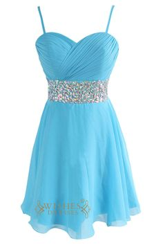 Spaghetti Straps Blue Junior Short Prom Dresses Am131