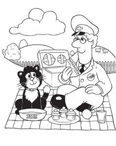 Black and white picture of Postman Pat on a picnic
