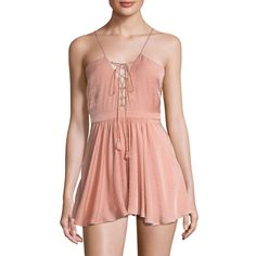 The Jetset Diaries Women's Lotus Lace Up Romper - Pink - Size L ($89) ❤ liked on Polyvore featuring jumpsuits, rompers, pink, playsuit romper, red romper, pink romper, pink rompers and red rompers