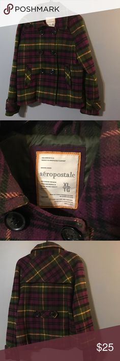 Aeropostale Plaid Coat Super cute plaid and lined winter coat. Great condition! Hunter green, yellow, deep purple, and black buttons! Aeropostale Jackets & Coats