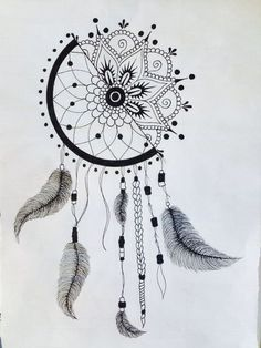 Catches dream drawing - how to make the drawing dream catcher! - Art and Literature Dream Catcher Drawing, Dream Drawing, Dream Catcher Tattoo, Doodle Art Drawing, Mandala Drawing, Art Drawings Sketches Simple, Pencil Art Drawings, Artwork Drawings, Tattoo Drawings