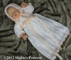 Baby Knitting Pattern Christening Gown Dress Bonnet by shifio, $3.99