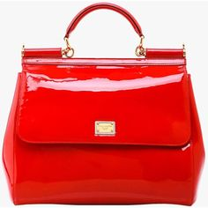 Pre-owned Dolce and Gabbana Red Patent Miss Sicily (1 585 AUD) ❤ liked on Polyvore featuring bags, handbags, purses, red, dolce gabbana purse, patent purse, pre owned purses, patent handbags and man bag