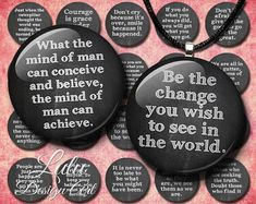 Quotes on black chalkboard circles, 1 inch chalkboard circles, bottle cap images, bottlecaps, digital stamp, sayings, quotes, buttons