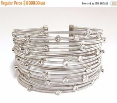 Holiday Special 2.28CT Round Diamonds Coil Wrap 18 Fused Row Bangle Bracelet 18KT Adjust