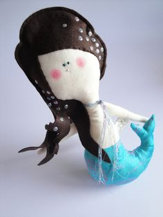 STELLA - Little Mermaid handmade eco friendly cotton and felt kids doll - Handmade in Italy. $44.00, via Etsy.