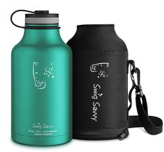 Swig Savvy's Stainless Steel Insulated Water Bottle and Beer Growler Wide Mouth 64Oz Capacity Double Wall Design for Hot and Cold Beverages Includes Water bottle Pouch (Green)