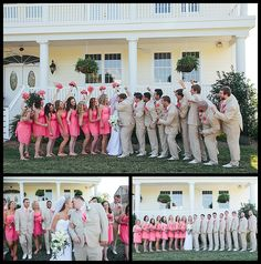 coral wedding, pink wedding, Weatherly Farm Wedding, tan tuxedo, tan suits, bridal party pictures, Birds of a Feather Photography
