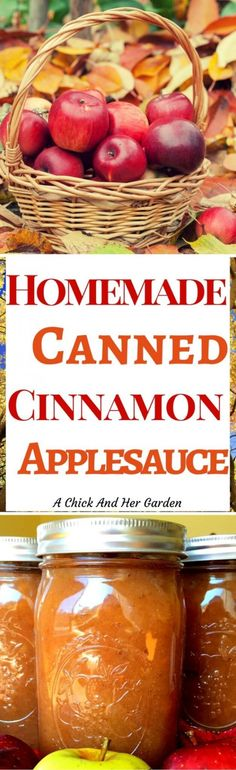 Canned Cinnamon Applesauce  Recipes: Sauces/Dressings What could be better than homemade applesauce?? Home canned Cinnamon Applesauce! On top of that, see how I sweeten it without sugar! Apple Recipes, Fall Recipes, Real Food Recipes, Yummy Food, Healthy Recipes, Canning Tips, Canning Recipes, Sauces, Homemade Applesauce