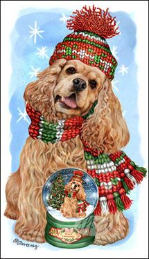 "Cocker Spaniel Christmas Cards are 8 1/2"" x 5 1/2"" and come in packages of 12 cards. One design per package. All designs include envelopes, your personal message, and choice of greeting. Select your greeting from the drop-down menu above.Add your personal message to the Comments box during checkout"