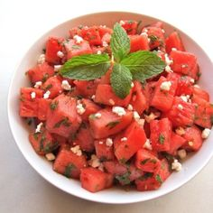 Watermelon fat cheese salad drizzle with balsamic glaze!  so ymm