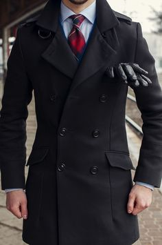 Coat with leather gloves