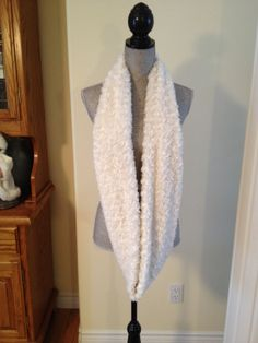 Luxury Plush Infinity Scarf in Winter White: $20.00   This scarf is made from a soft plush fabric that layers beautifully and feels gentle against the skin. It is also slightly longer than our regular infinity scarves.  This shows the slightly longer length of these scarves. Winter White, Infinity, Layers, Feels, Scarves, Plush, Luxury, Fabric, Beauty