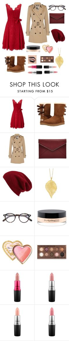 """My Thanks Giving Dinner Outfit"" by vanillabeanlover ❤ liked on Polyvore featuring Phase Eight, UGG Australia, Burberry, Rebecca Minkoff, Halogen, Chupi, Moscot, MAC Cosmetics, Too Faced Cosmetics and NYX"
