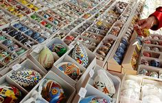 Painted eggs for use as traditional Easter decoration are on display at an Easter market in Vienna.