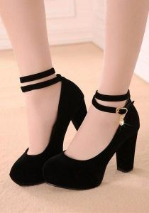 Black Round Toe Chunky Buckle Casual High-Heeled Shoes Source by Outfits with heels High Heels Boots, Lace Up Heels, Black High Heels, Shoe Boots, Shoes Heels Black, Black Boots, Women's Shoes, High Heel Sneakers, Dance Shoes