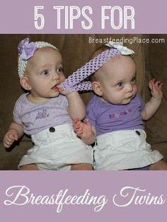 5 Tips for Breastfeeding Twins    www.BreastfeedingPlace.com   #breastfeeding #twins twins, parenting twins, #twins