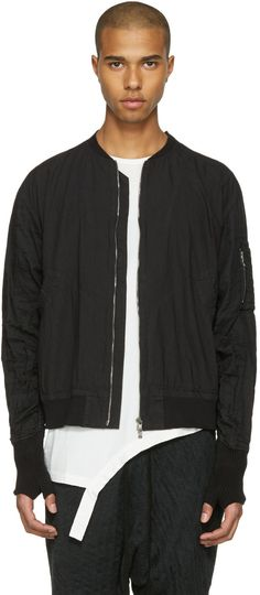 THE VIRIDI-ANNE Black Zip-Up Bomber Jacket. #theviridi-anne #cloth #jacket