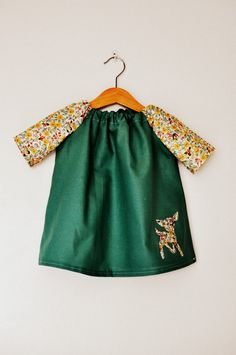 Sage green and ditsy yellow floral print deer applique toddler babies girls tunic dress top in age 1-2