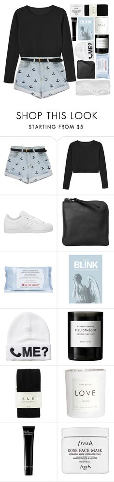 """""""All That's In My Head Are Pictures Of Memories, Words That You Said To Me"""" by just-a-reject-x ❤ liked on Polyvore featuring Monki, adidas, Xenab Lone, First Aid Beauty, Blink, Byredo, Falke, H&M, Bobbi Brown Cosmetics and Fresh"""