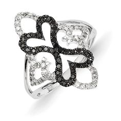 14k White Gold Black and White Diamond Double Heart ring