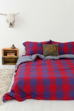 4040 Locust Buffalo Plaid Duvet Cover- Red Twin Xl from Urban Outfitters. Shop more products from Urban Outfitters on Wanelo. Plaid Bedding, Linen Bedding, Bed Linens, Masculine Room, Blue Master Bedroom, Duvet Covers Urban Outfitters, Red Duvet Cover, Home Decor Sale, Sweet Home