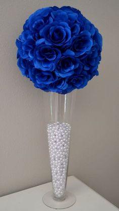 Pomanders azul flor bola centro de mesa de boda decoración