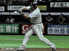 Chris Carter lines a single to center in the 1st inning and drives in two runs to put the Lions on the board at Fukuoka Yahoo! Japan Dome on Thursday, July 5, 2012.