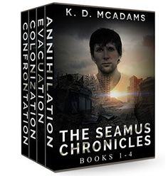 The Seamus Chronicles Books 1-4: Annihilation, Evacuation, Colonization & Confrontation by K. D. McAdams http://www.amazon.com/dp/B019X3W7GO/ref=cm_sw_r_pi_dp_z7QTwb17AMBAK