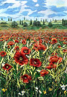 """Mitra McQuilton Tread Painting Artist  """"Poppy Field"""""""