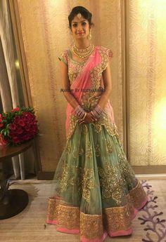Indian bride Akshata wears bridal lehenga and jewellery for her Reception… Lehenga Designs, Half Saree Designs, Blouse Designs, Indian Bridal Lehenga, Indian Bridal Fashion, Half Saree Lehenga, Anarkali, Lehanga Saree, Lehnga Dress