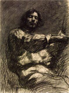 Gustave Courbet opère la fusion quasi corporelle du peintre et de sa peinture dans l'acte même de peindre - [Etude pour un autoportrait, ou Jeune homme assis (Courbet, 1847)]