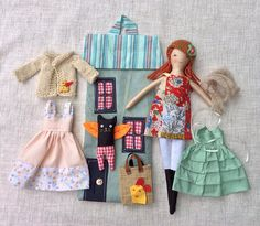 Tilly lives in a house bag with all her clothes tucked away in the back of the bag. This catch-all bag is perfect to take along for long car rides or to playdates. She is a dress-up cloth doll made for active, quiet and imaginative play for children of all ages. Made in a pet free, smoke