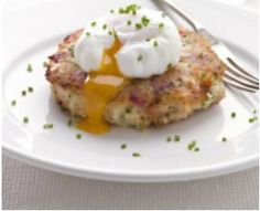 Bacon and Tomato Cakes with Poached Eggs