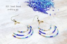DIY Seed Bead Earrings | The Sweetest Occasion  Supplies:  +Fishing line +Seed beads. I used 4 colors – turquoise, cobalt blue, silver and gold. I also included a few silver tube beads I had on hand. +4 small cord clamps  +2 gold fish hook earring wires  +Jewelry pliers