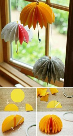Easy DIY Window Decorating Ideas Transform paper circles to hanging umbrellas. ideas Easy DIY Window Decorating Ideas Transform paper circles to hanging umbrellas. Origami Diy, Origami Paper, Diy Paper, Paper Crafting, Origami Tutorial, Diy Tutorial, Hanging Origami, Origami Boxes, Dollar Origami