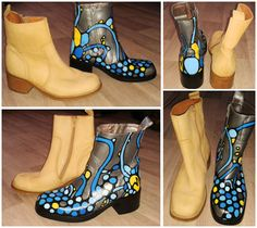 Leather Vintage Stone Creek boots, hand painted by Myrdin   with Angelus leather paint          (StoneCreek)