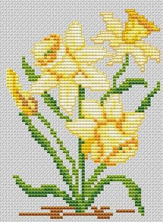 Crochet Flowers Tiny Ideas For 2019 Tiny Cross Stitch, Cross Stitch Pillow, Cross Stitch Flowers, Modern Cross Stitch, Counted Cross Stitch Patterns, Cross Stitch Designs, Cross Stitch Embroidery, Hand Embroidery, Daffodils