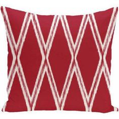 Simply Daisy Geometric Print Decorative Pillow, 16 inch x 16 inch, Red