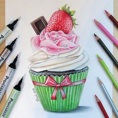 """Amazing work by _ Tag art to for a possible feature Kik ""ninanawdis"" for a paid feature 😊"" Candy Drawing, Cupcake Drawing, Food Drawing, Cupcake Kunst, Cupcake Art, Marker Kunst, Marker Art, Pencil Art Drawings, Art Drawings Sketches"