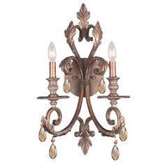 Royal Florentine Bronze Wrought Iron Wall Sconce Draped with Golden Teak Crystal