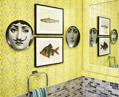 Wallpaper by Flat Vernacular in Kate Reynolds's bathroom | Lonny.com