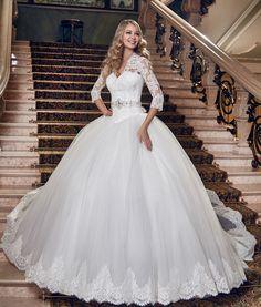 Cheap Moda elegante Noble del v cuello de encaje sin espalda apliques de perlas bola vestido largo vestido de noiva boda viste 2016, Compro Calidad Vestidos de Novia directamente de los surtidores de China:
