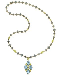 Gold, Aquamarine and Chrysoberyl Necklace, Tiffany & Co., Designed by Louis Comfort Tiffany, Circa 1915