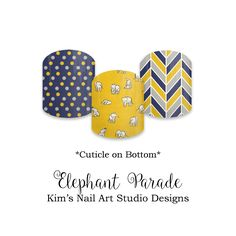 """Elephant Parade:  If you want to get these beauties of your fingers and toes, head on over to my Jamberry Nail Art Studio Marketplace!  Simply click on the image above and it will direct you right to the listing!  To see more of my designs and some special sales, join my Facebook group """"Kim's Nail Art Studio Designs"""" at www.facebook.com/groups/925106354278688 Thanks for the interest in my designs!"""